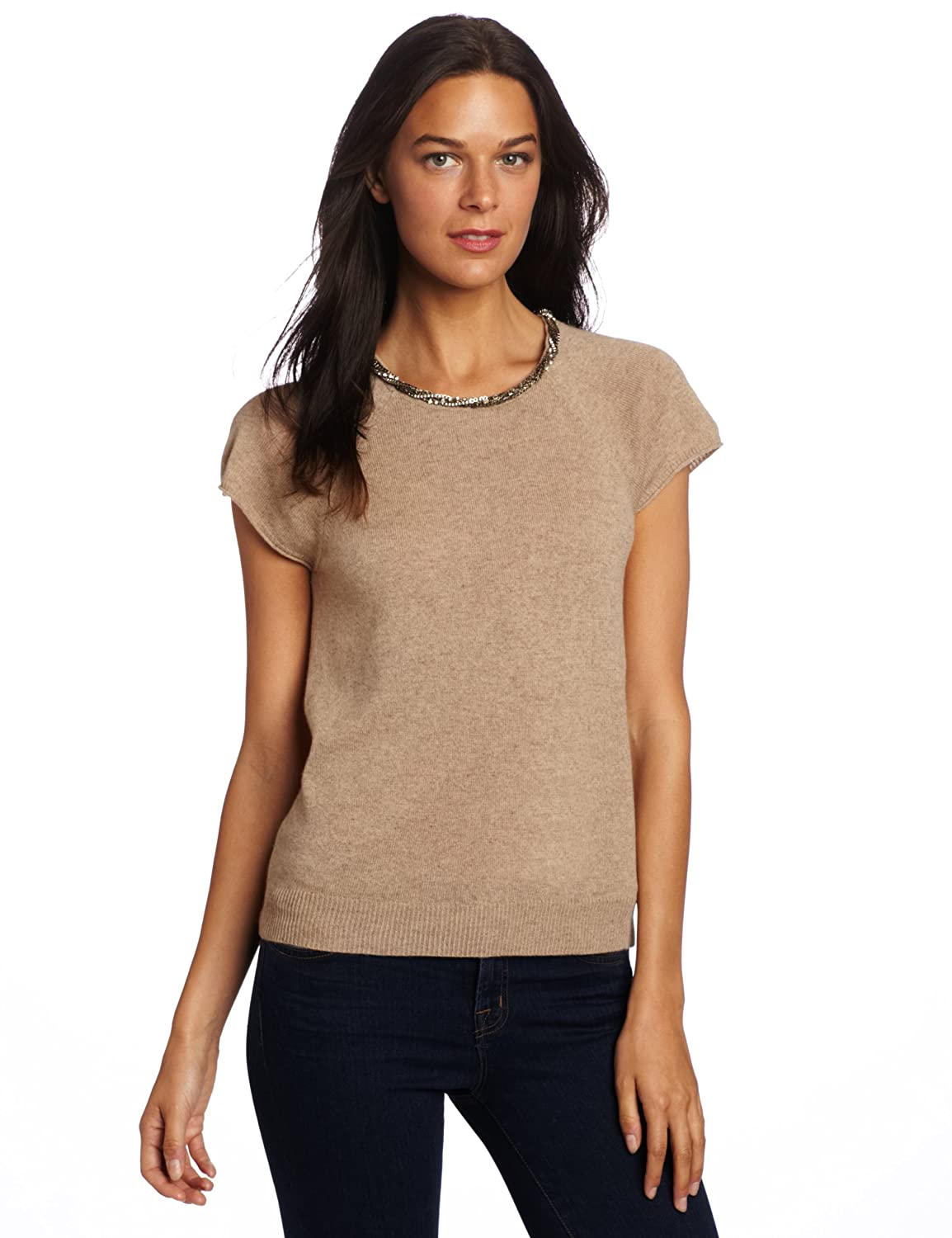 Buy Magaschoni Women's 100% Cashmere Embellished Crew Neck