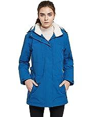 svacuam Women's Winter Fleece Lined Ski Jacket Waterproof Printed Parka with Hood