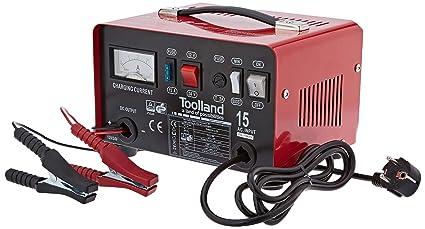 Toolland AC15 12/24 V Cargador para baterías de plomo y ácido con función Boost, 300 mm x 210 mm x 185 mm Dimensiones