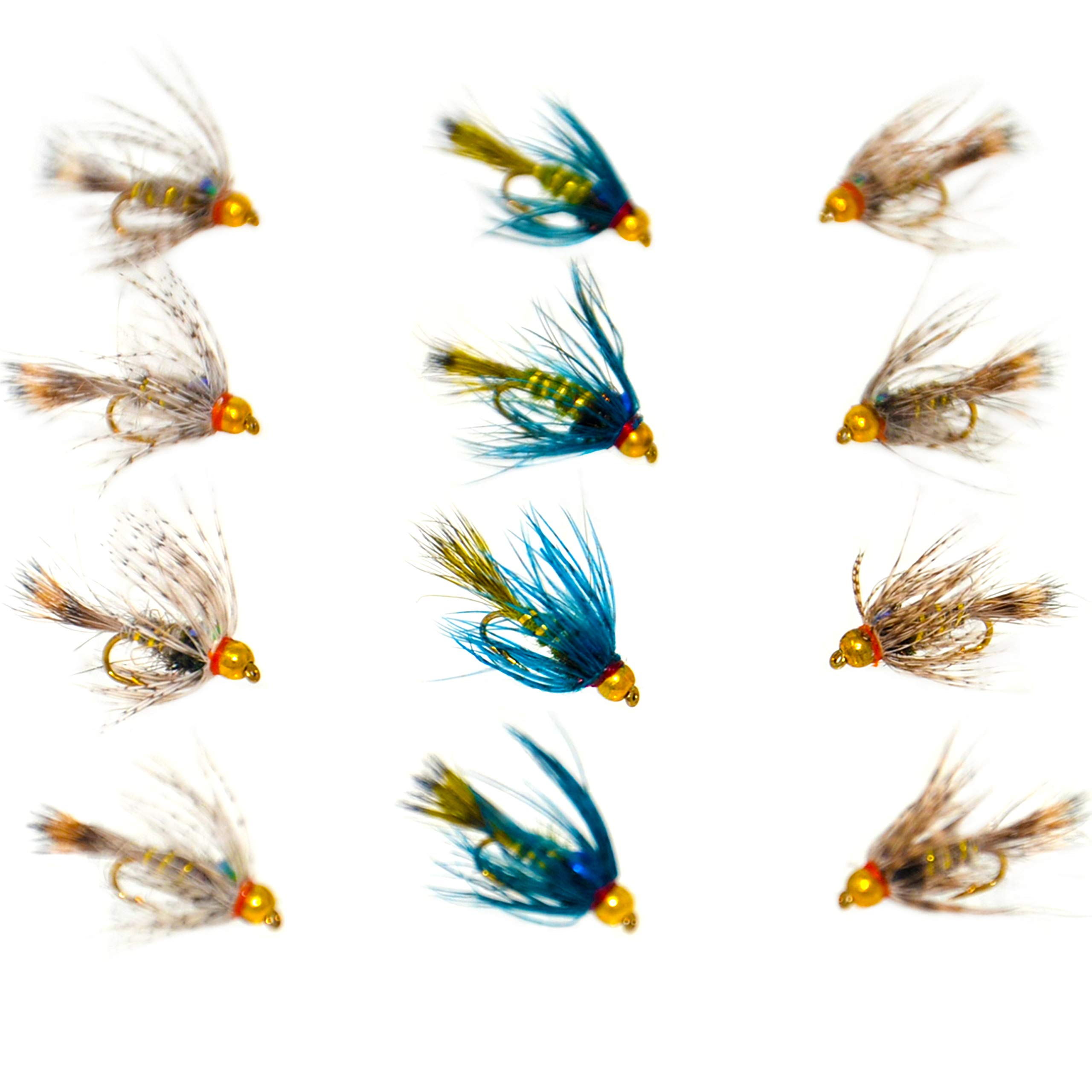 Outdoor Planet 12 Guide's Choice Hare's Ear/Beadhead Soft Hackle Hare's Ear Nymph Flies Wet Flies for Trout Fly Fishing Flies Lure Assortment by Outdoor Planet