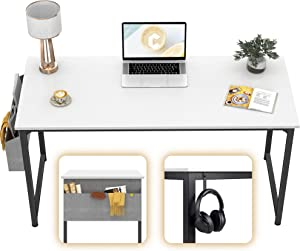 "CubiCubi Computer Desk 47"" Study Writing Table for Home Office, Modern Simple Style PC Desk, Black Metal Frame, White"