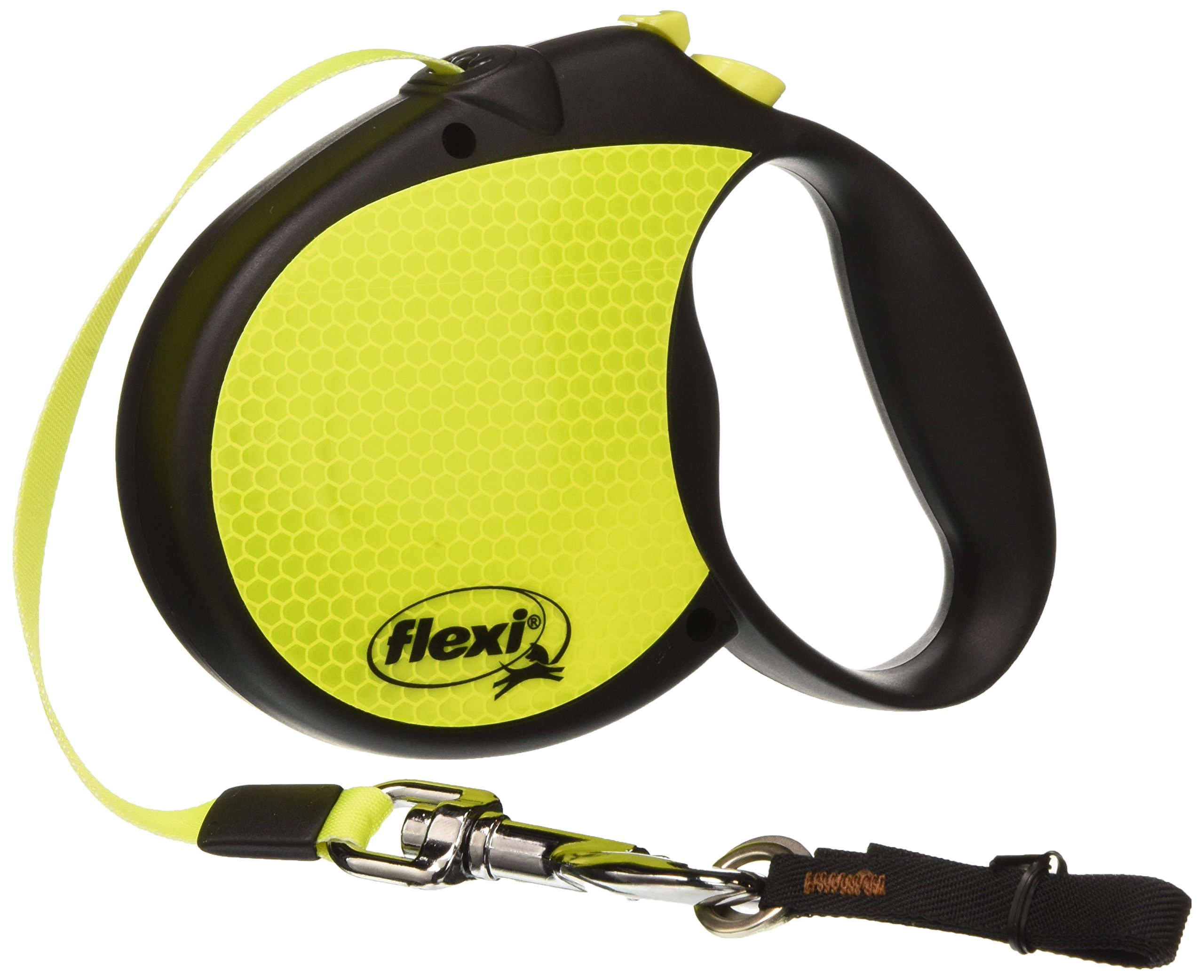 Flexi Neon Retractable Dog Leash (Tape), 16 ft, Large, Black/Neon