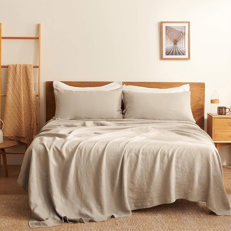Bedsure Linen Sheets Set Queen Size - 100% Linen Bed Sheets Deep Pocket Sheets, Breathable Bedding Set, Washed French Linen Sheet ( Natural, 90