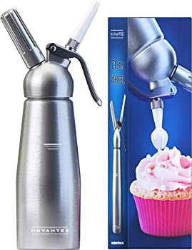 Nuvantee Whipped Cream Dispenser with 3 Decorating Nozzles