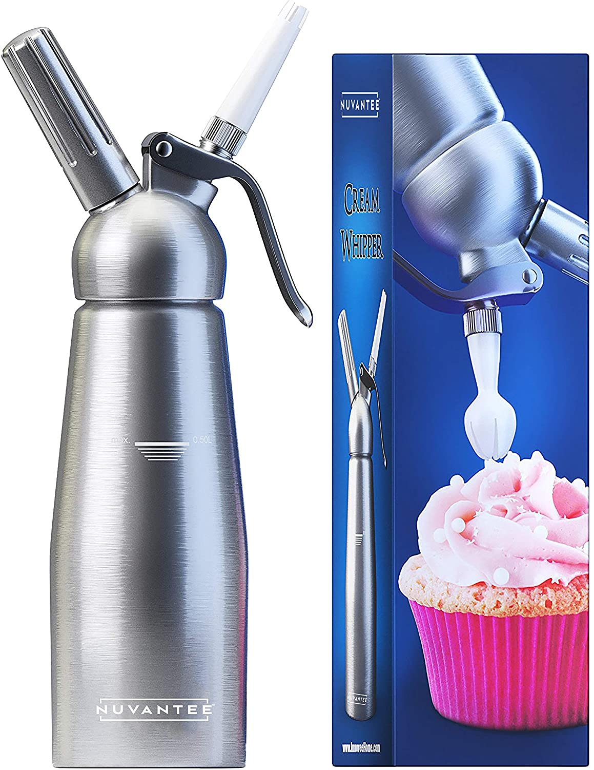 Nuvantee Cream Whipper (1-Pint) - Professional Aluminum Whipped Cream Dispenser With 3 Decorating Nozzles - Uses Standard N20 Cartridges (not included)