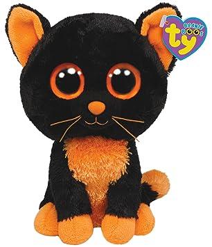Ty Beanie Boos Moonlight - Gato de peluche, color negro y naranja