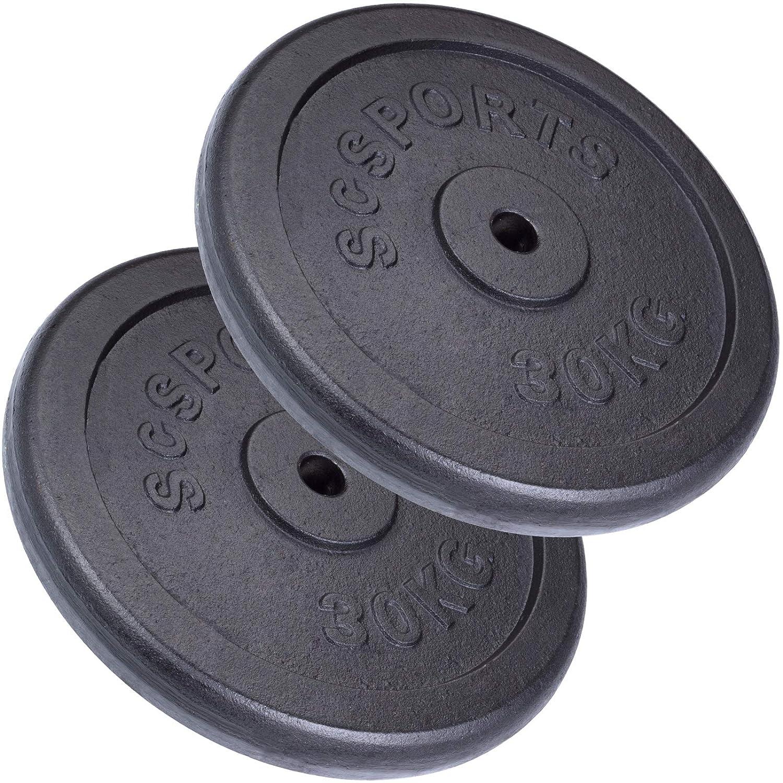ScSPORTS® 60 kg Hantelscheiben-Set 2 x 30 kg Gusseisen Gewichte 30/31 mm Bohrung, durch Intertek geprüft + Besteanden¹