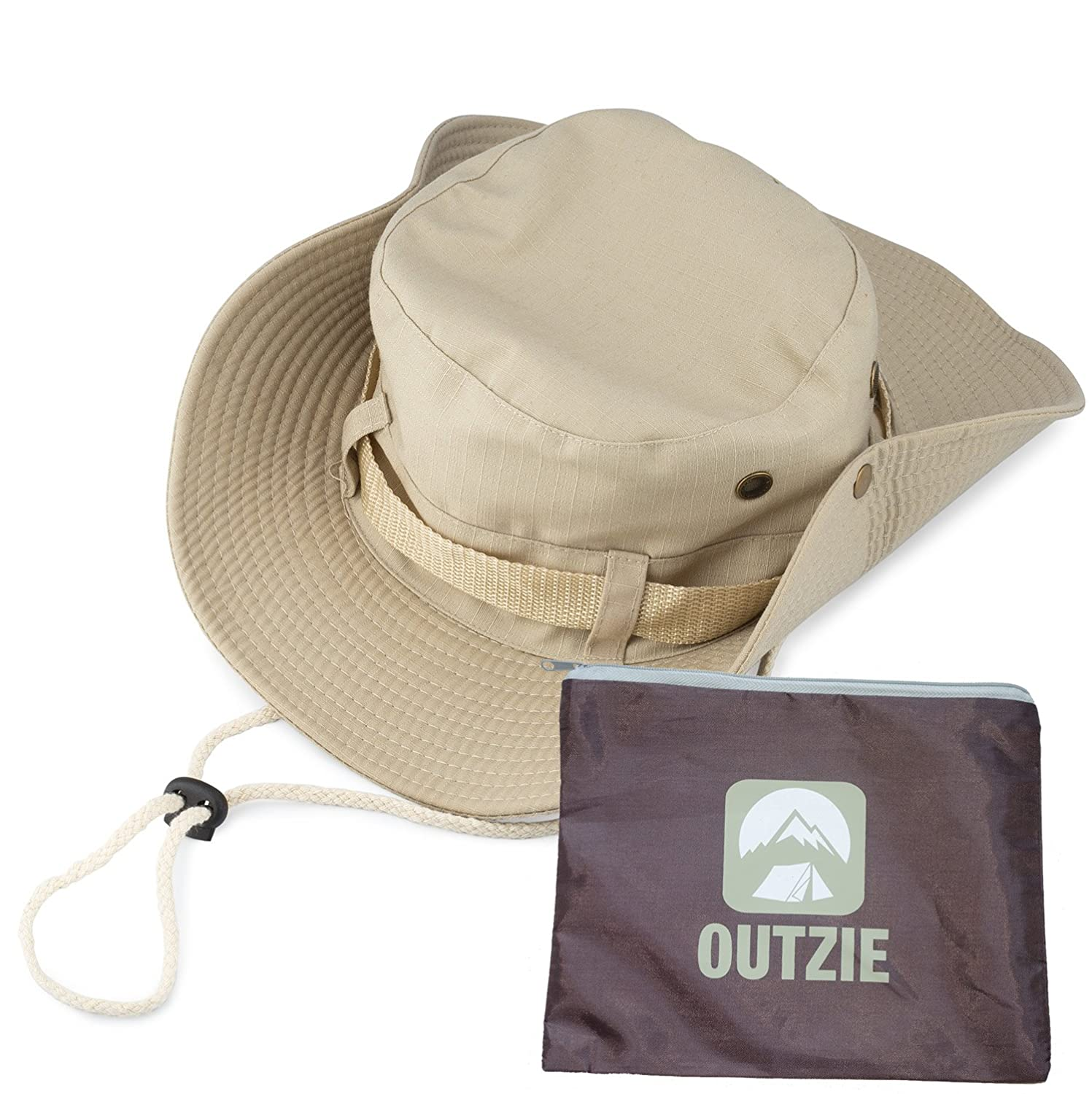 OUTZIE Wide Brim Packable Booney Sun Hat Max Protection for UVA Lightweight Cotton Perfect for Fishing Gardening Hiking Camping The Beach and All Outdoor Activity Bonus Nylon Travel Bag