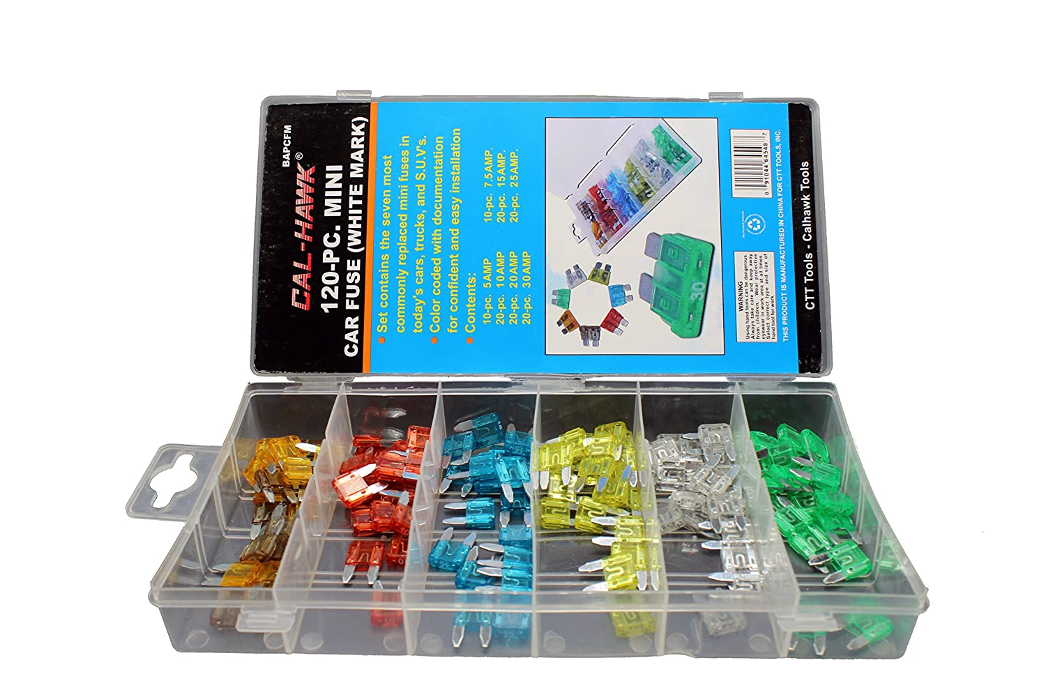 25 Amp Fuse Box Wiring Library 15 Amazoncom Cal Hawk Bapcfm White Marked Assorted Car Truck Mini