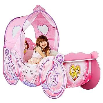 Disney Prinzessin Kinderbett Im Kutschendesign Mit Beleuchtetem Baldachin    140x70cm