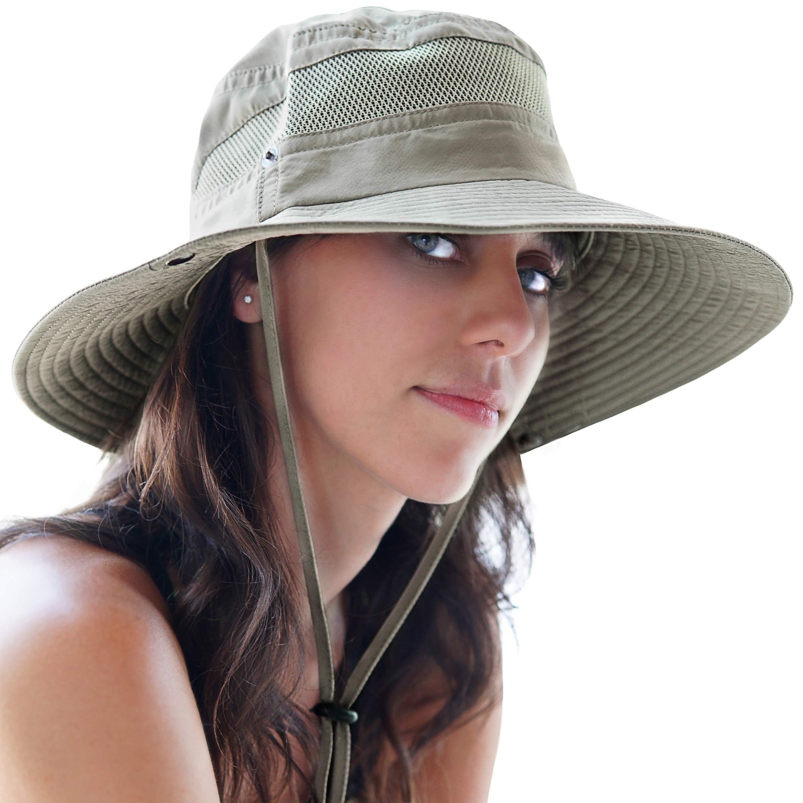 GearTOP Fishing Sun Hat Safari Cap with Sun Protection for Men and Women, (Khaki)