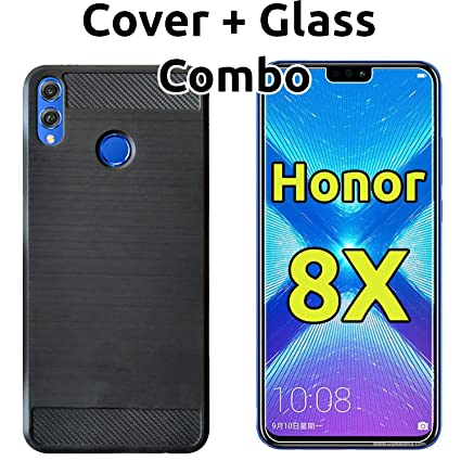 POPIO Huawei Honor 8X Back Cover Case & Tempered Glass Combo