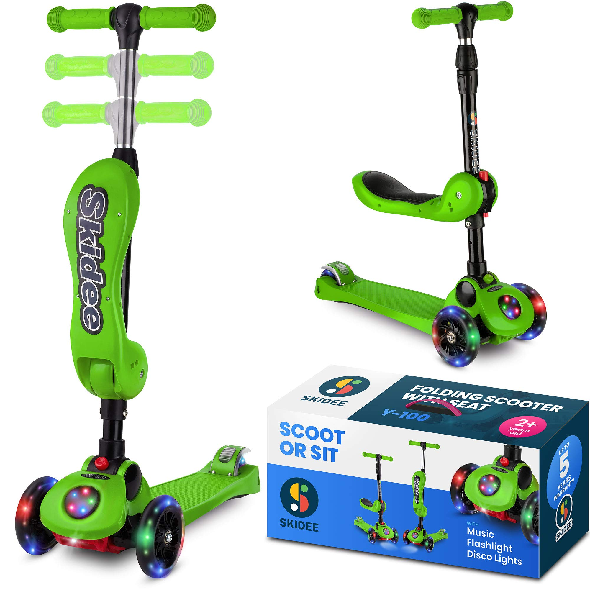 Scooter For Kids with Folding Seat – 2-in-1 Adjustable 3 Wheel Kick Scooter for Toddlers Girls & Boys – Fun Outdoor Toys for Kids Fitness, Outside Games, Kid Activities – Boy & Girl Toys (GREEN)