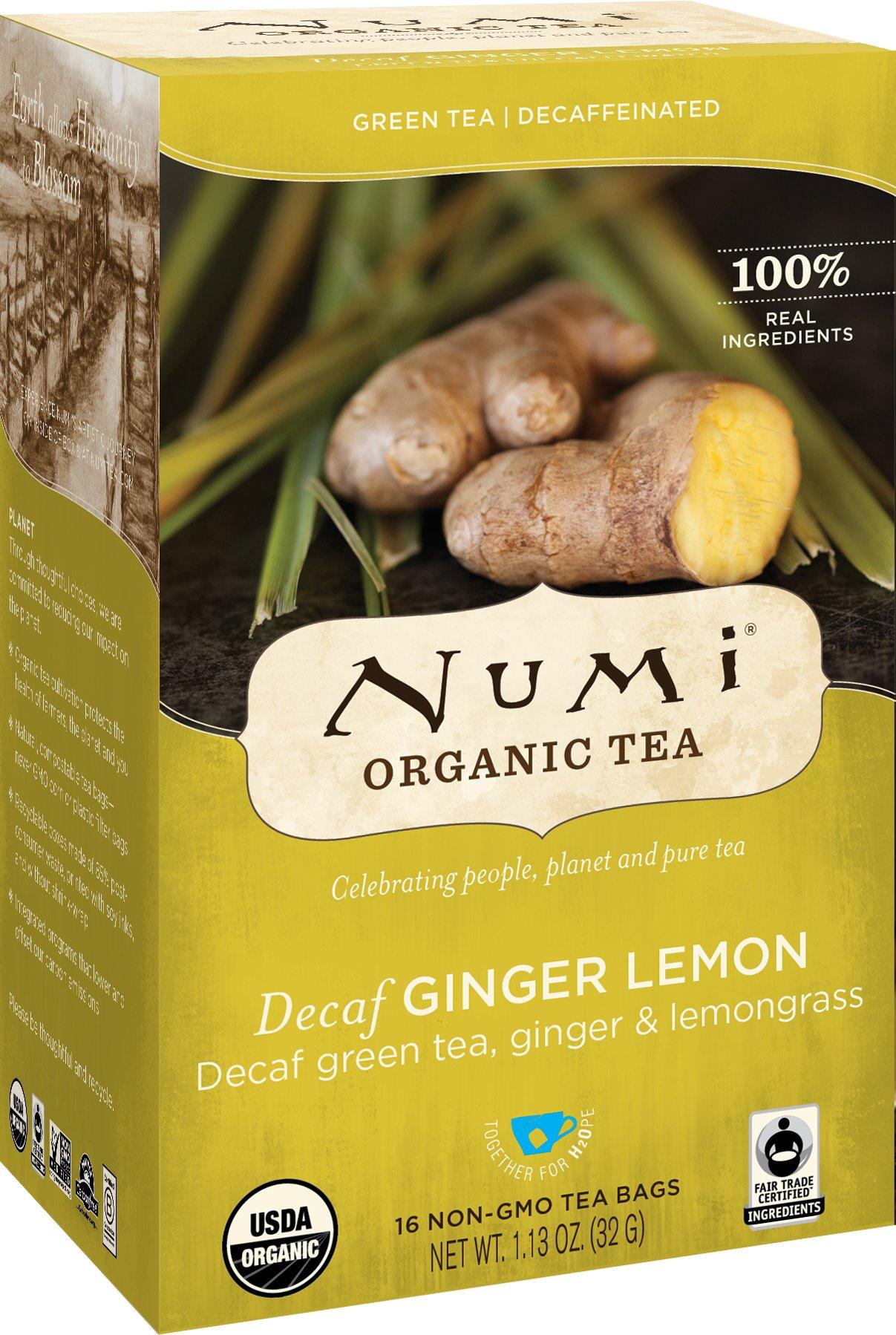 Numi Organic Tea - Decaf Ginger Lemon Decaffeinated Green Tea - Caffeine Free Natural Tea Blend - 16 Count non-GMO Tea Bags
