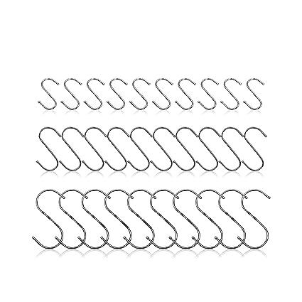 30 unidades de ganchos en forma de S de acero inoxidable, pequeños, medianos, grandes, para colgar macetas, sartenes, tazas, ropa, herramientas, ...