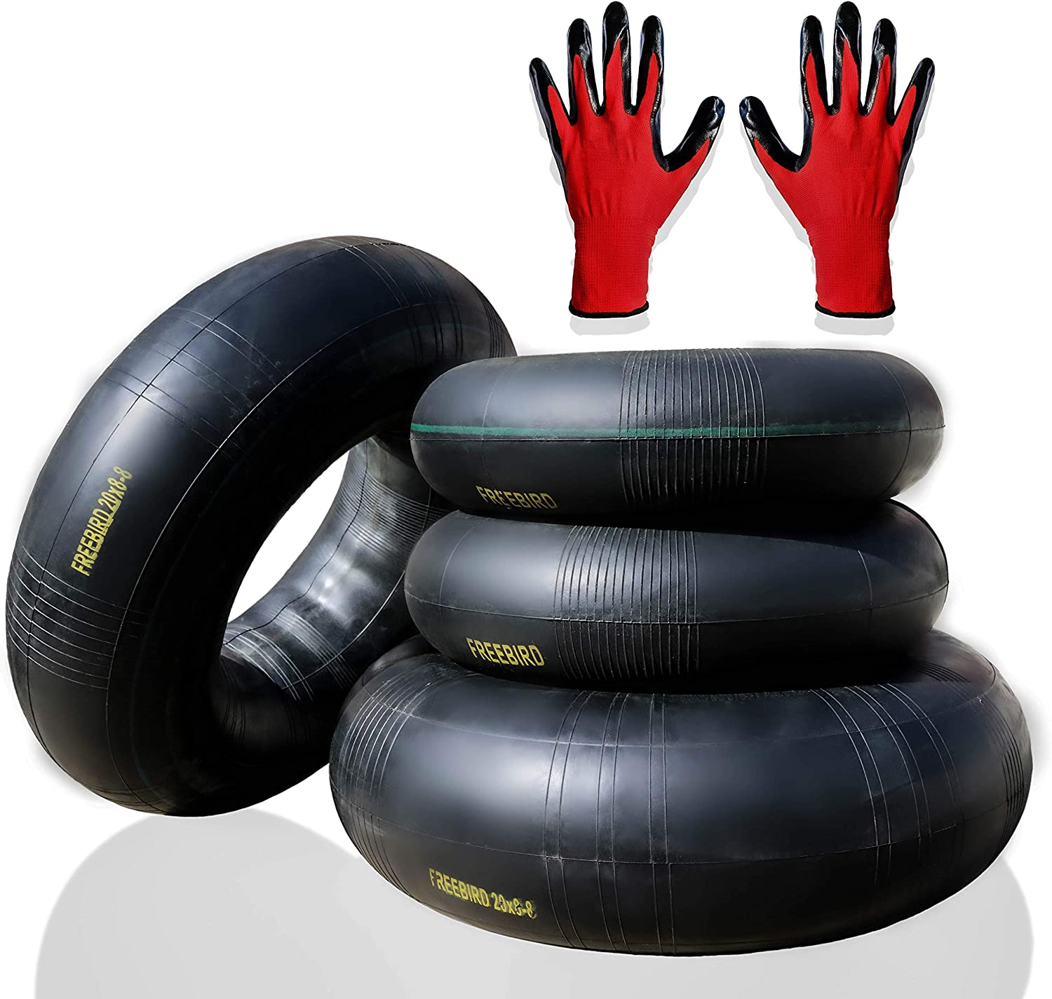 """FreeBird 4 Pack Replacement Inner Tubes for Lawn Mower Tires 2 x 15x6.00-6/"""" for Front and 2 x 20x8.00-8/"""" or 20x10.00-8/"""" for Rear with TR-13 Valve Stem Complete with Gloves Set"""