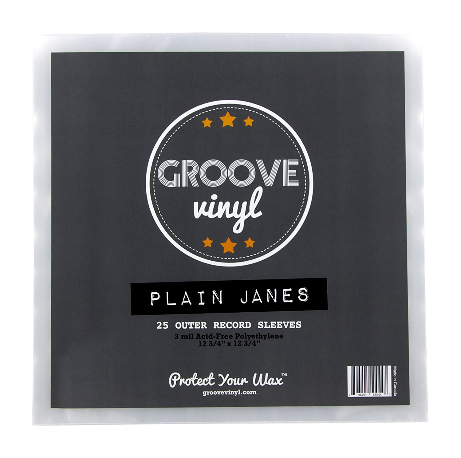 Groove Vinyl 12 Inch Outer Record Sleeves 25 Pack