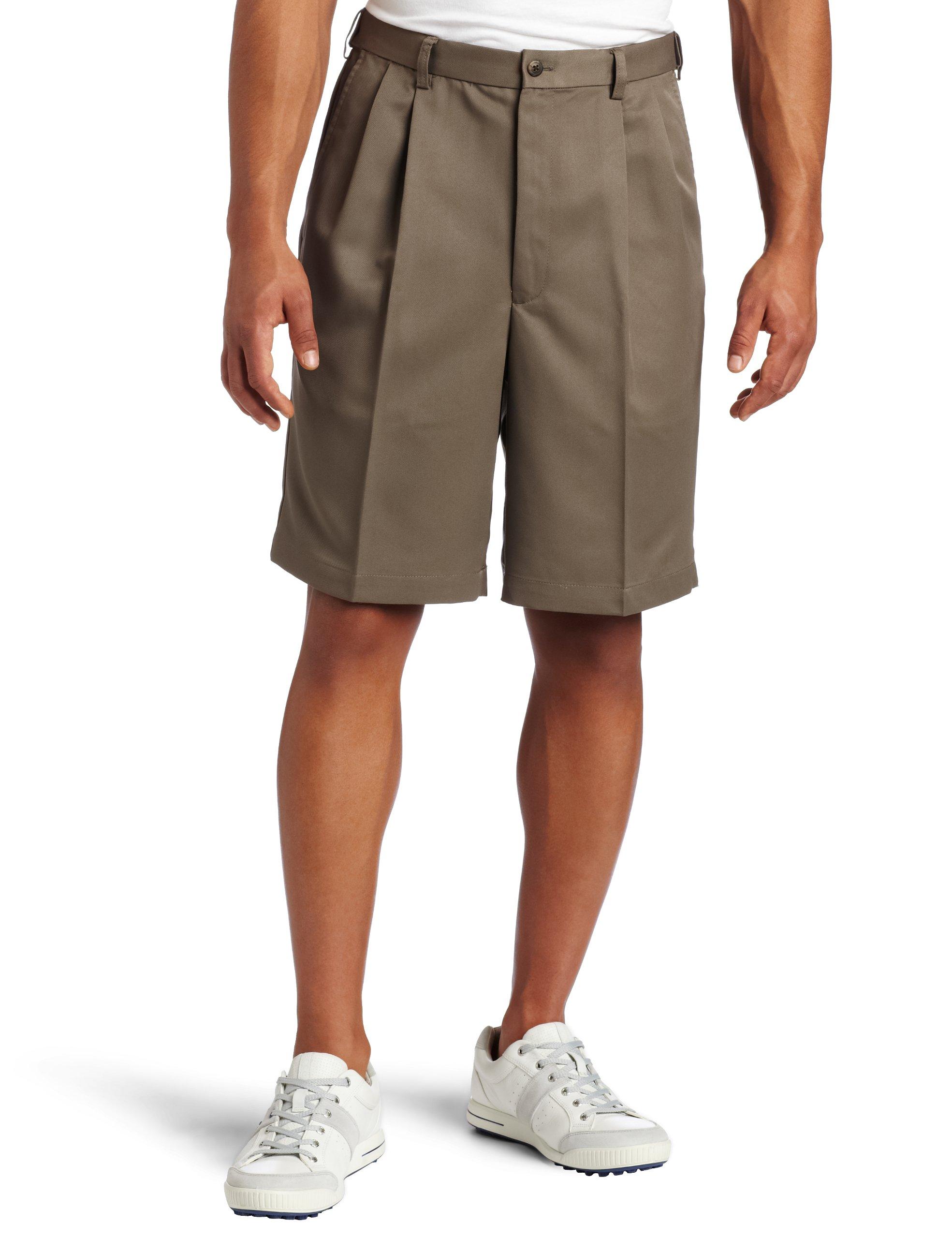 Haggar Men's Cool 18 Gabardine Hidden Expandable Waist Pleat Front Short,Bark,36
