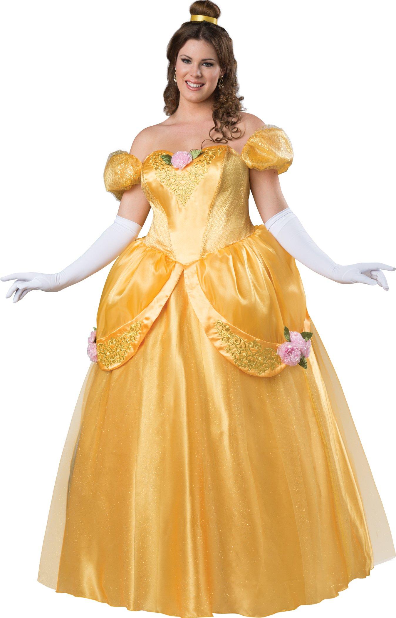 Fun World Women's Plus Size Beautiful Princess Fitting Costume, Gold, 3XL