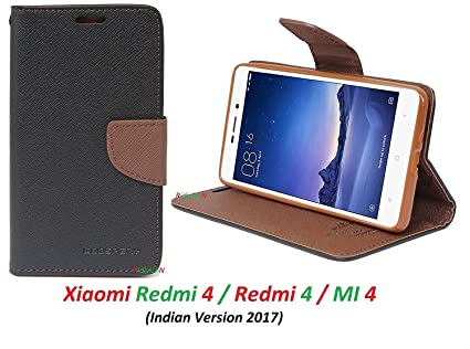 wholesale dealer 3bba4 ffcd4 Ridivishn Flip Cover Case Wallet Style for Mi Redmi 4 (Black Brown)