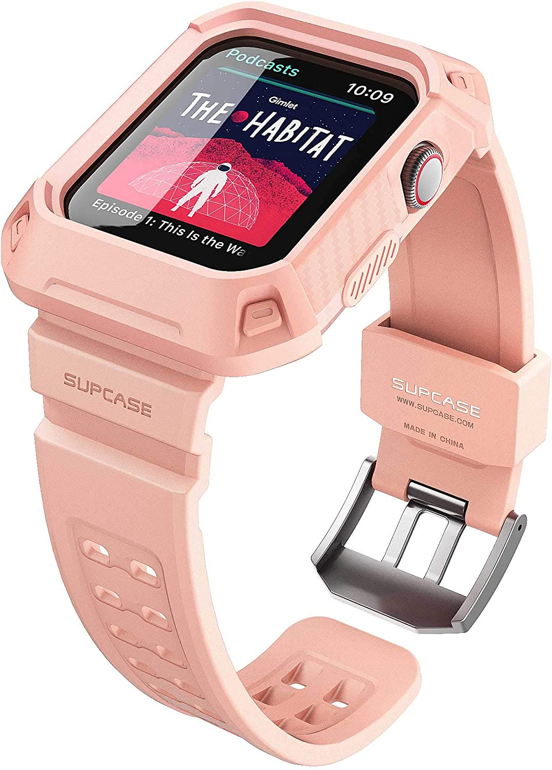 SUPCASE [Unicorn Beetle Pro] Designed for Apple Watch Series 6/SE/5/4 [44mm], Rugged Protective Case with Strap Bands(BBPink)