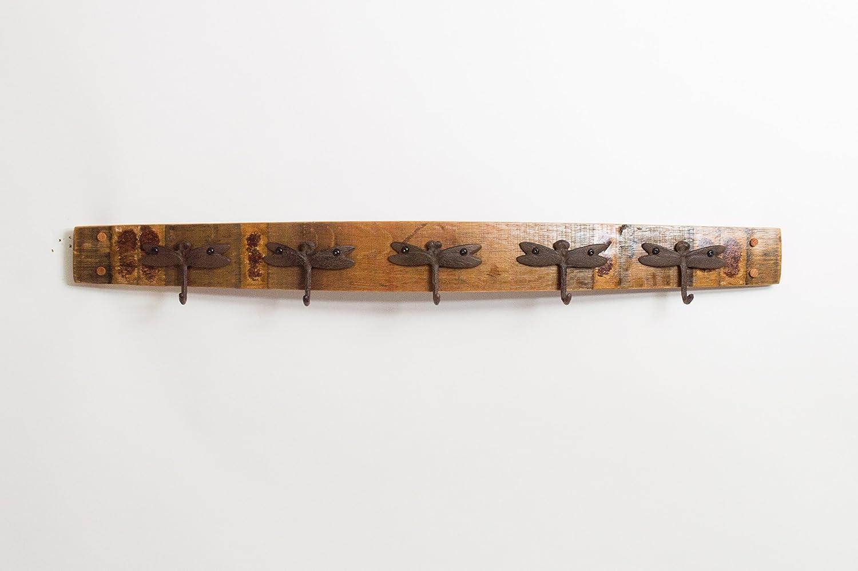 Choice of Size Wine Barrel Coatrack with Forged Hooks