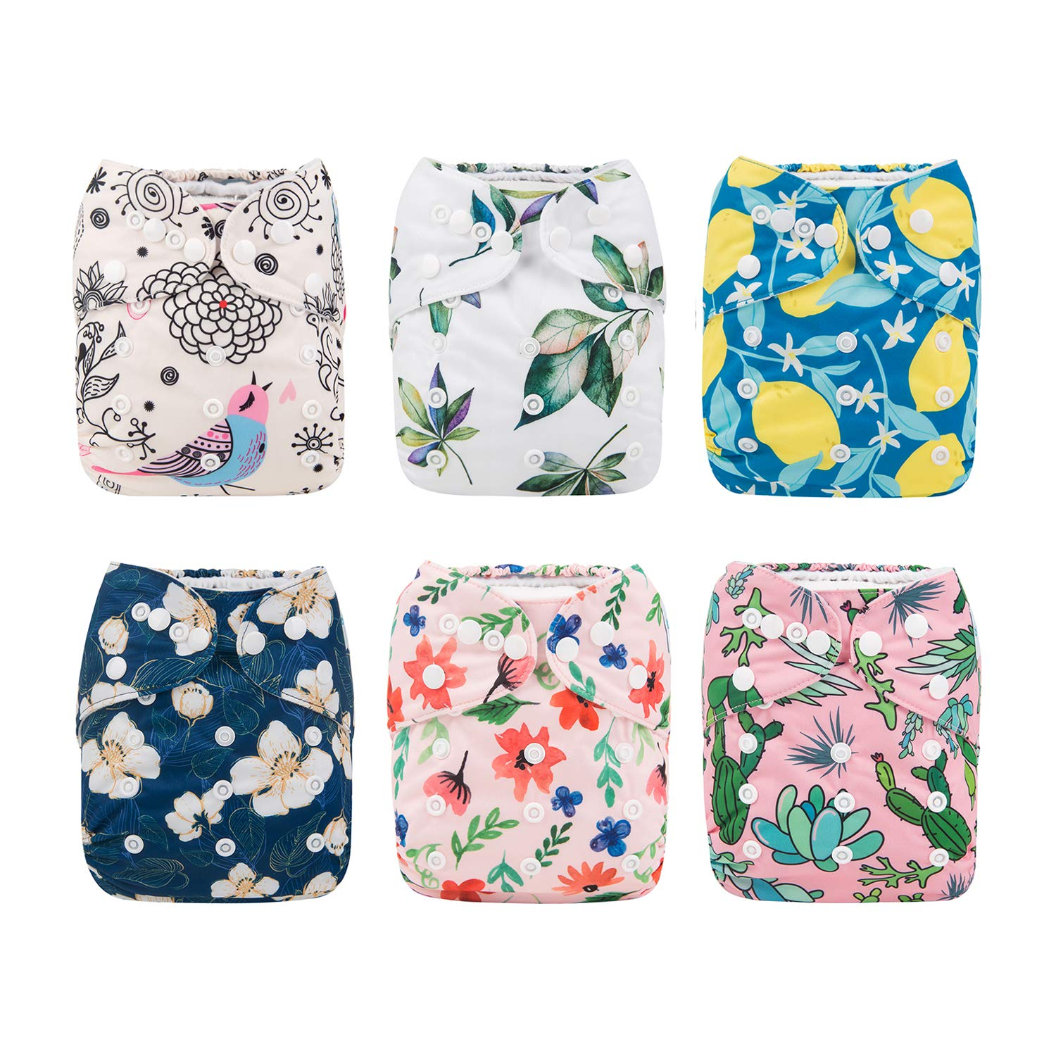 Babygoal Baby Girl Cloth Diapers, Adjustable Reusable Pocket Nappy 6pcs Diapers+ 6pcs Microfiber Inserts+4pcs Bamboo Inserts 6FG10 Huapin