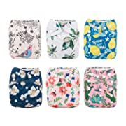 Babygoal Baby Cloth Diapers for Girls, Washable Reusable Pocket Nappy, 6pcs Diapers+6pcs Microfiber Inserts+4pcs Bamboo Inserts 6FG09