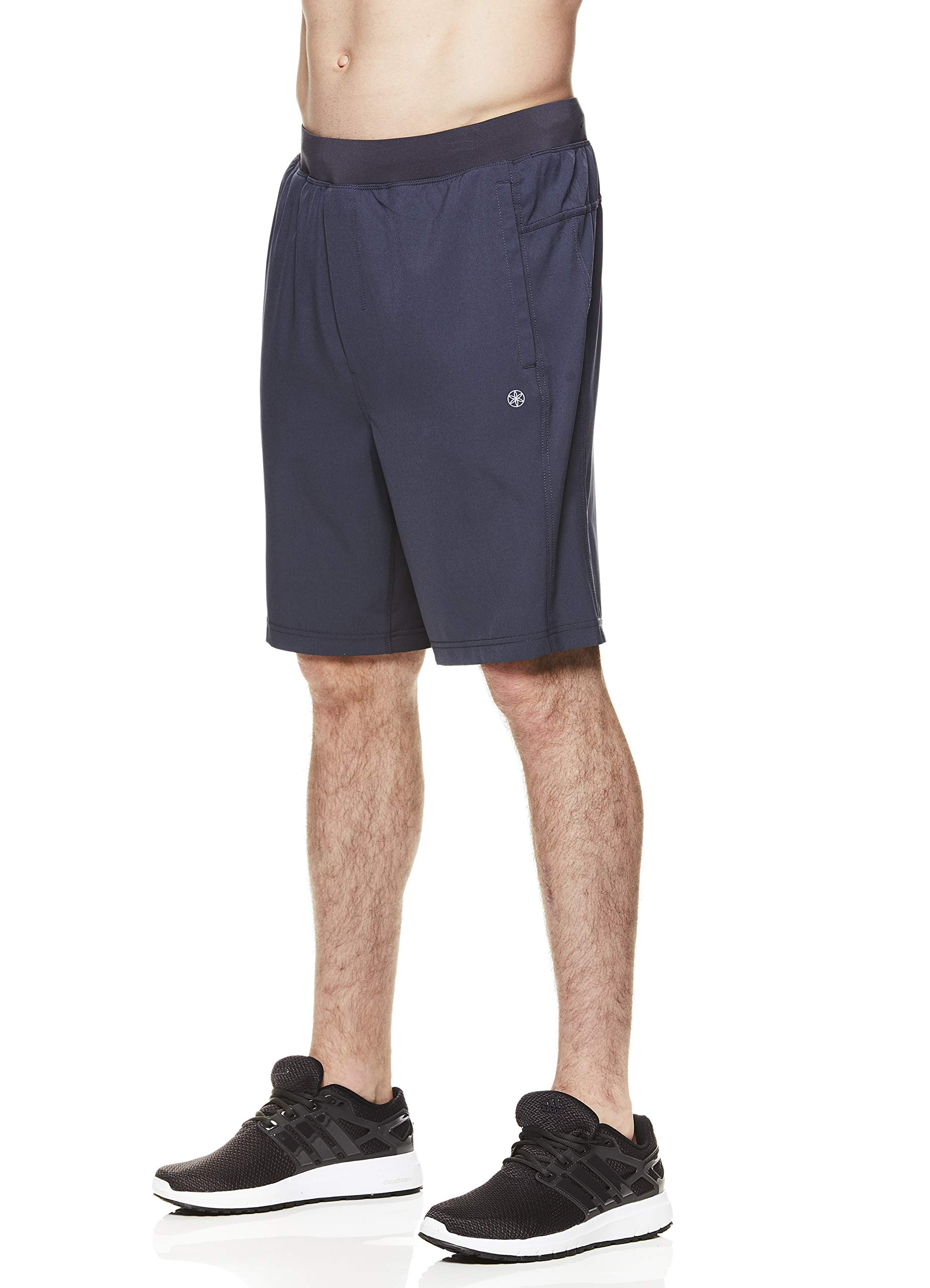 Gaiam Men's Yoga Shorts - Performance Heather Gym & Workout Short w/Pockets - Posture Woven Ebony, Small