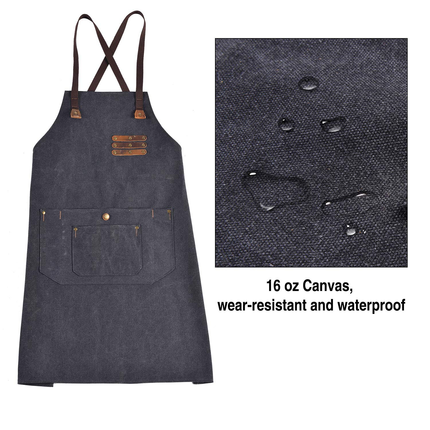 Canvas Shop Apron for Men & Women  Heavy Duty Work Apron with Pocket & Cross-Back Straps   Adjustable Tool Apron M to XXL(Grey) by ruizhixuan (Image #5)