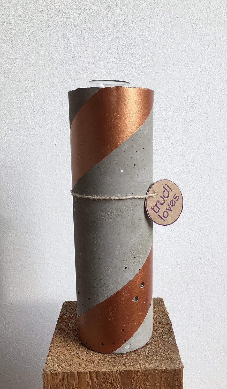 Vase Beton 22 cm hoch'Kupfer'