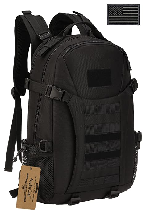ed4fe706b21 ArcEnCiel Men Tactical Military Molle Gym Bag Badminton Backpack with Patch  -Rain Cover Included (
