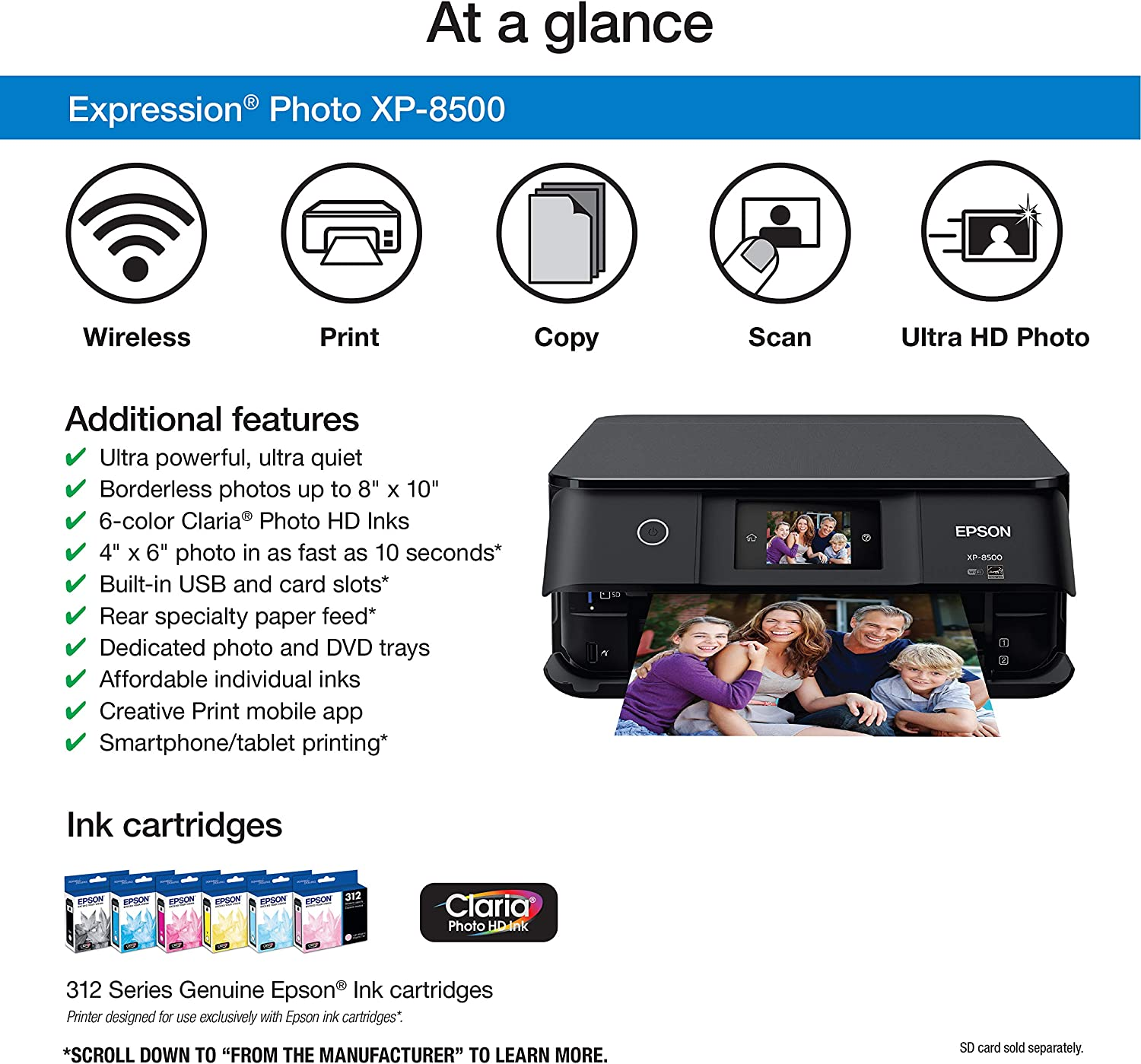 Epson Expression Photo XP-8500 Wireless Color Photo Printer with Scanner and Copier, Amazon Dash Replenishment Enabled