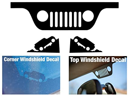 Jeep wrangler jk windshield replacement decals grill and corner black
