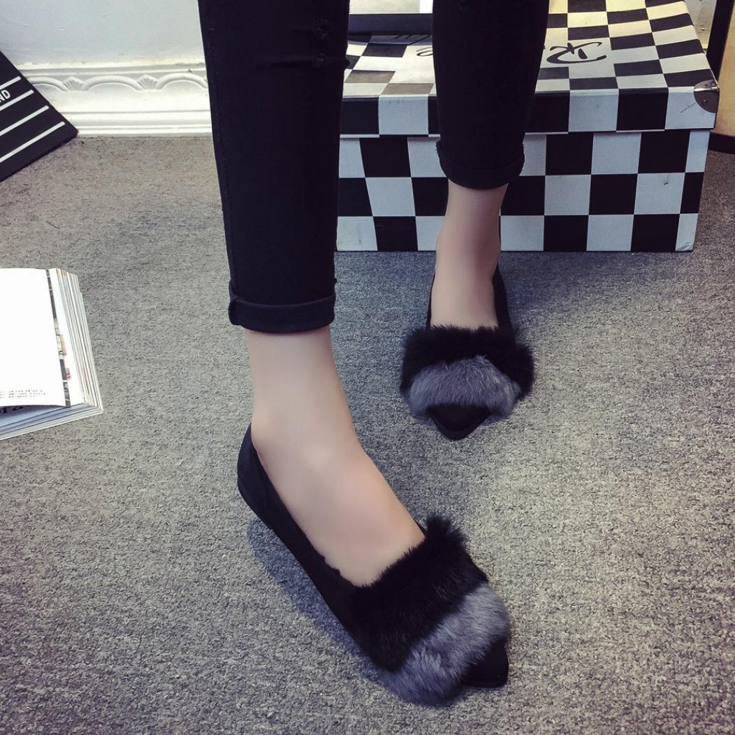 Women Fashion Home Slip On Sliders Fluffy Faux Fur Slipper Indoor Outdoor Flip-flops Shoes Elevin TM