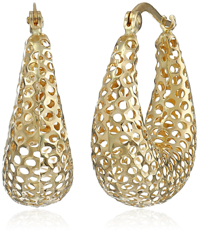 14k Yellow Gold Mesh Diamond-Cut Hoop Earrings