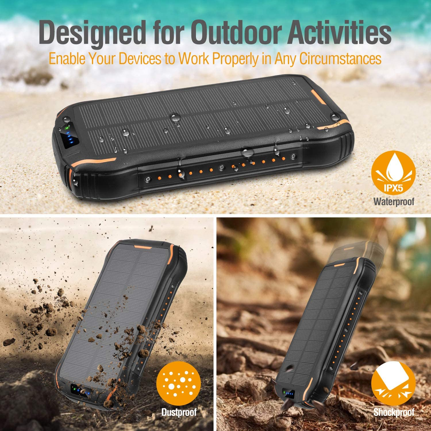 Android Smartphones and Other Devices for Camping Hiking Solar Charger ENEGON Portable Outdoor Solar Panel Power Bank 26800mAh with 18 LEDs Flashlight and 3 Outputs-5V//3.1A /& 2 Inputs/for iPhone