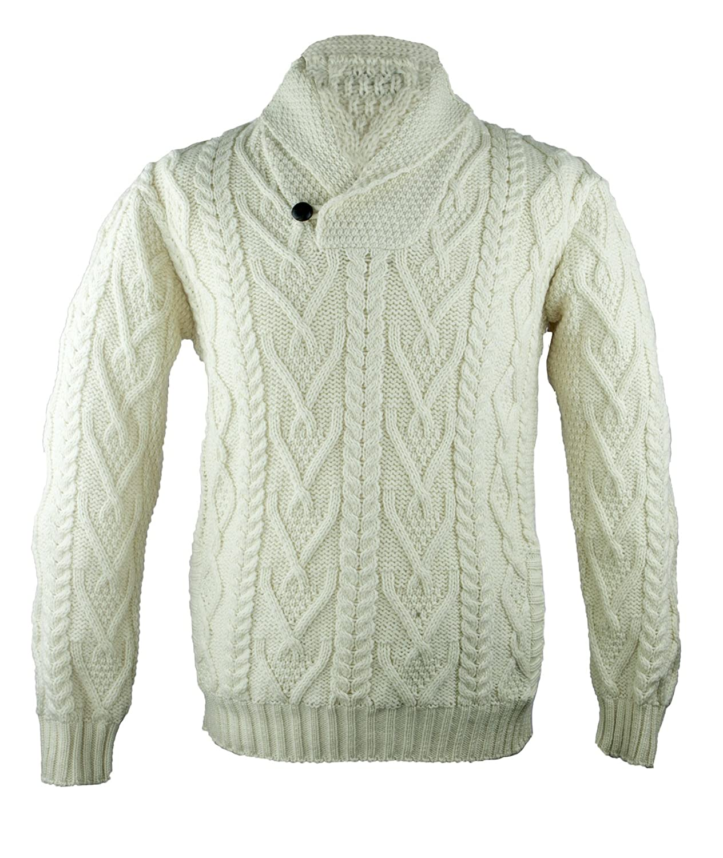 100% irlandés de lana Merino cuello Aran Sweater: Amazon.es: Ropa y ...