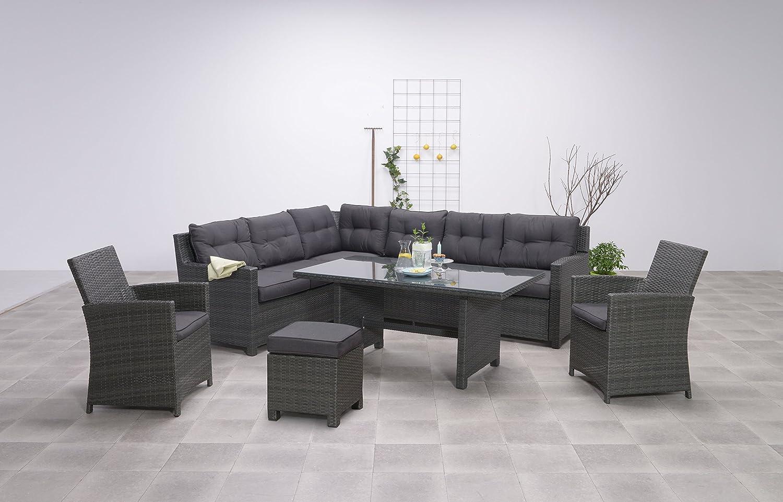 Hohe Dinning Poly Rattan Lounge Aboyne inkl. zwei Sesseln und einem Hocker von Garden Impressions