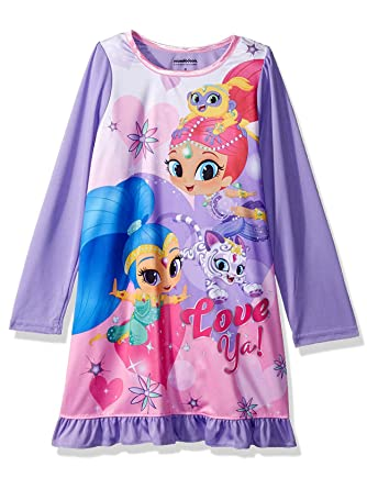 e7f80827873b Shimmer and Shine Girls Long Sleeve Nightgown Pajamas (8, Purple)