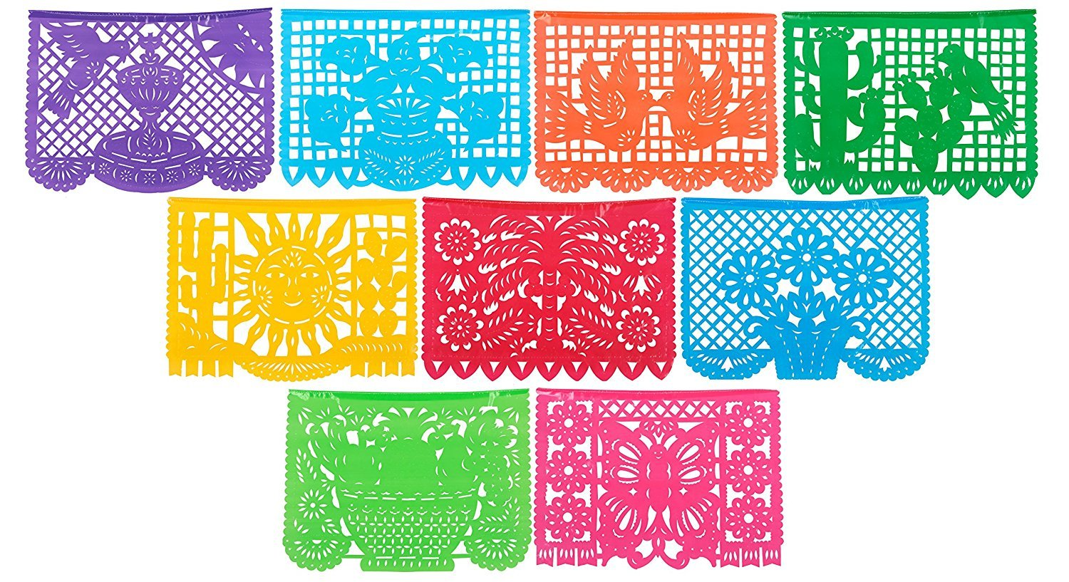 Paper Full of Wishes Large Plastic Papel Picado Banner - Party Packs - 15ft Long / 9 Panels - Designs as Pictured (10pk)