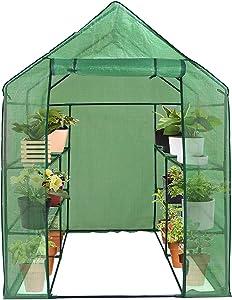 Saturnpower Walk-in Greenhouse 2 Tier 8 Shelves Plant Flower Tent Mini Lawn Plant Shelf Patio Garden Green House Gardening Flower Rack Indoor&Outdoor with PE Cover and Zipper Door(57
