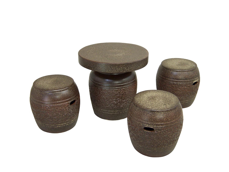 窯肌松皮16号ガーデンセット #しがらき焼 翔オリジナルの金運豆蛙ストラップ鈴付1本と陶器製保存容器(お漬物、お味噌等5合用)をもれなくプレゼントさせていただきます B01HXEGQJY