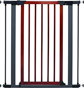 MidWest Homes for Pets Steel Pet Gate w/ Textured Graphite Frame & Decorative Wood Door; 29