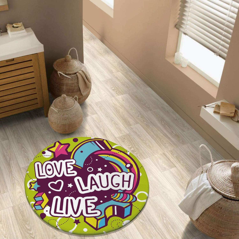 Live Laugh Love Decor Throw Runner Rug Non Slip Backing Floor Carpet for Sofa Living Room Bedroom Modern Accent Home Decor,Cartoon Style Line Art Figures Stars Cubes Circles Hearts Cheerful Decorativ