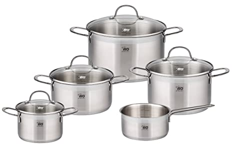 ELO Top Collection 18/10 Stainless Steel Kitchen Induction Cookware Pots  and Pans Set with Shock Resistant Glass Lids and Integrated Measuring  Scale, ...