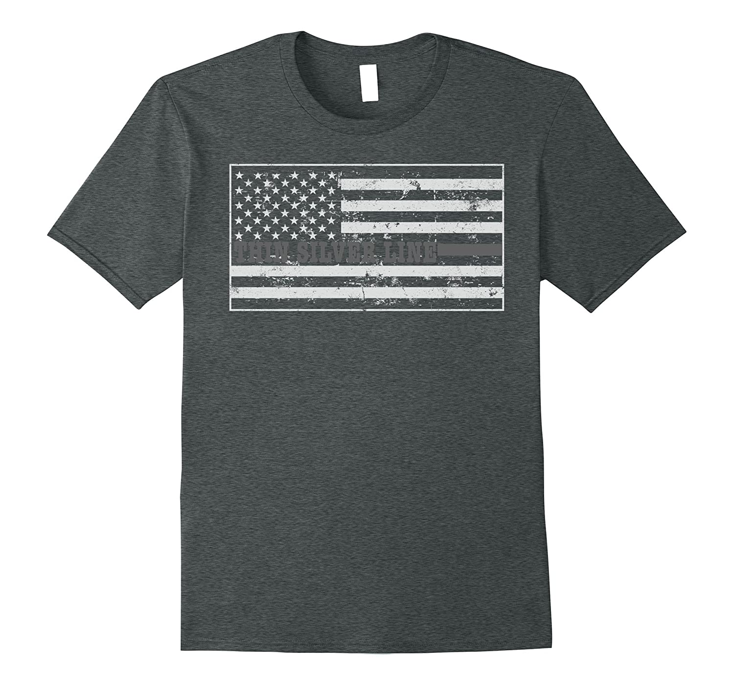 Correctional Officer Thin Silver Line Flag Prison Guard Shir-TH