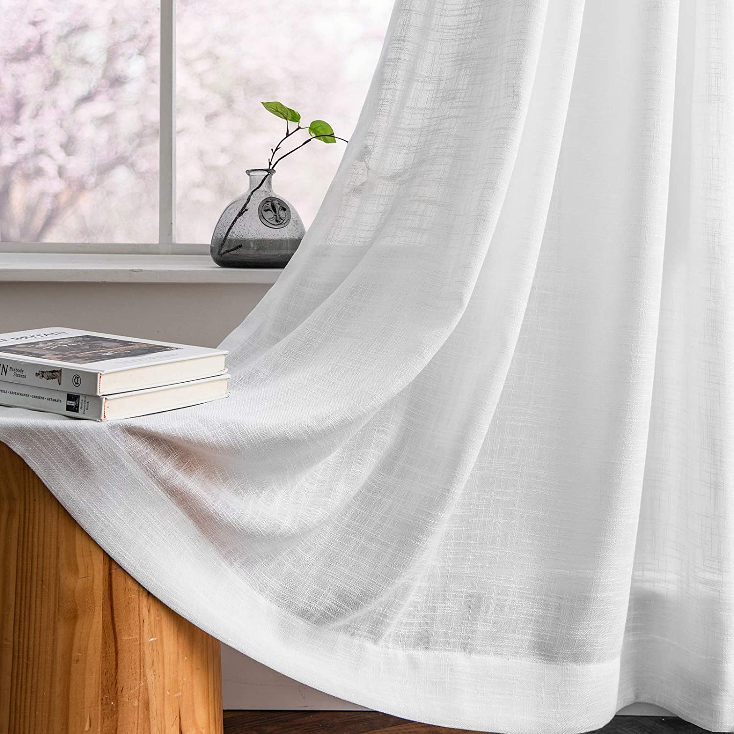 Melodieux White Linen Textured Semi Sheer Curtains 84 Inches Long for Living Room Bedroom Natural Flax Linen Rod Pocket Voile Drapes, 52 by 84 Inch (2 Panels)