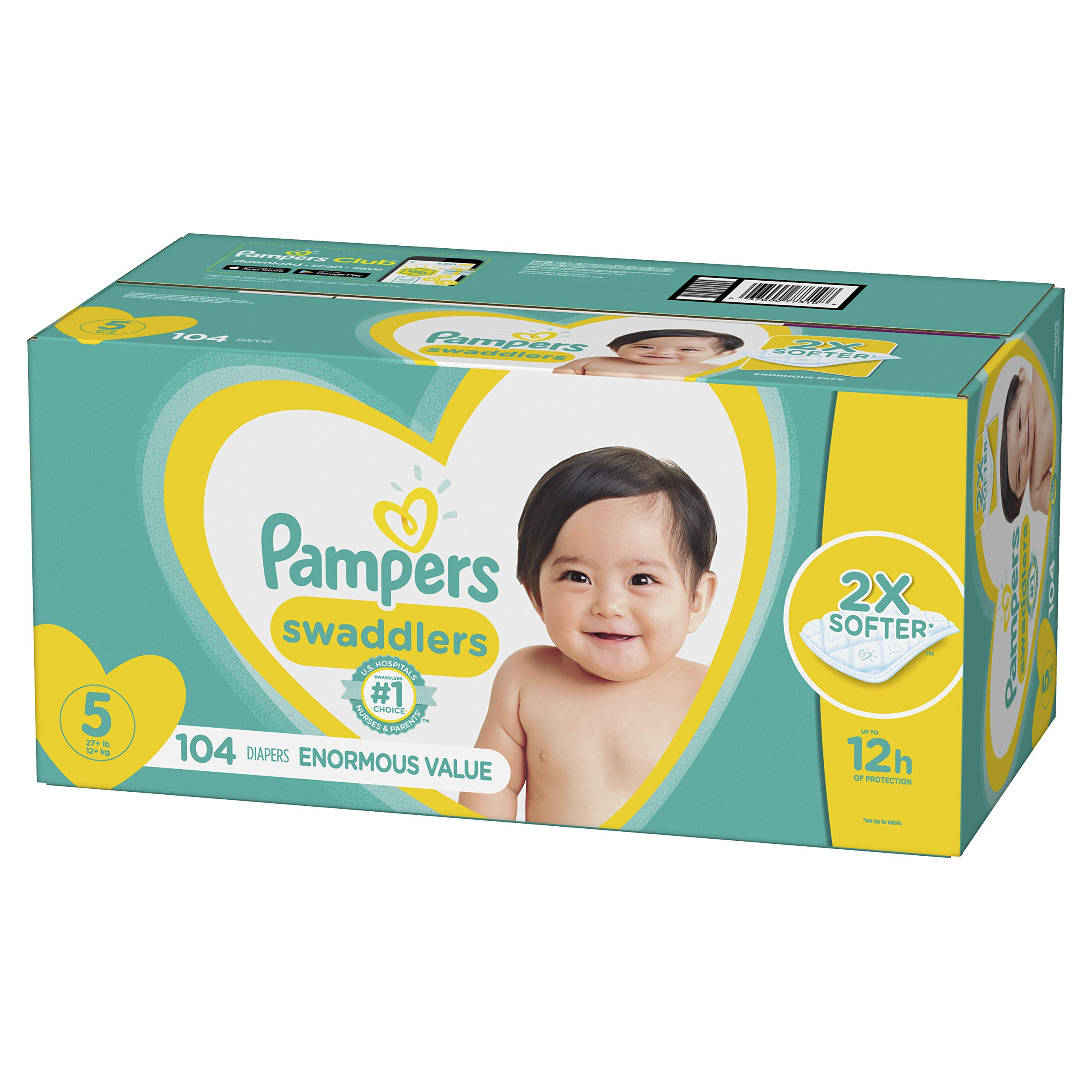 Diapers Size 5, 104 Count - Pampers Swaddlers Disposable Baby Diapers, Enormous Pack by Pampers