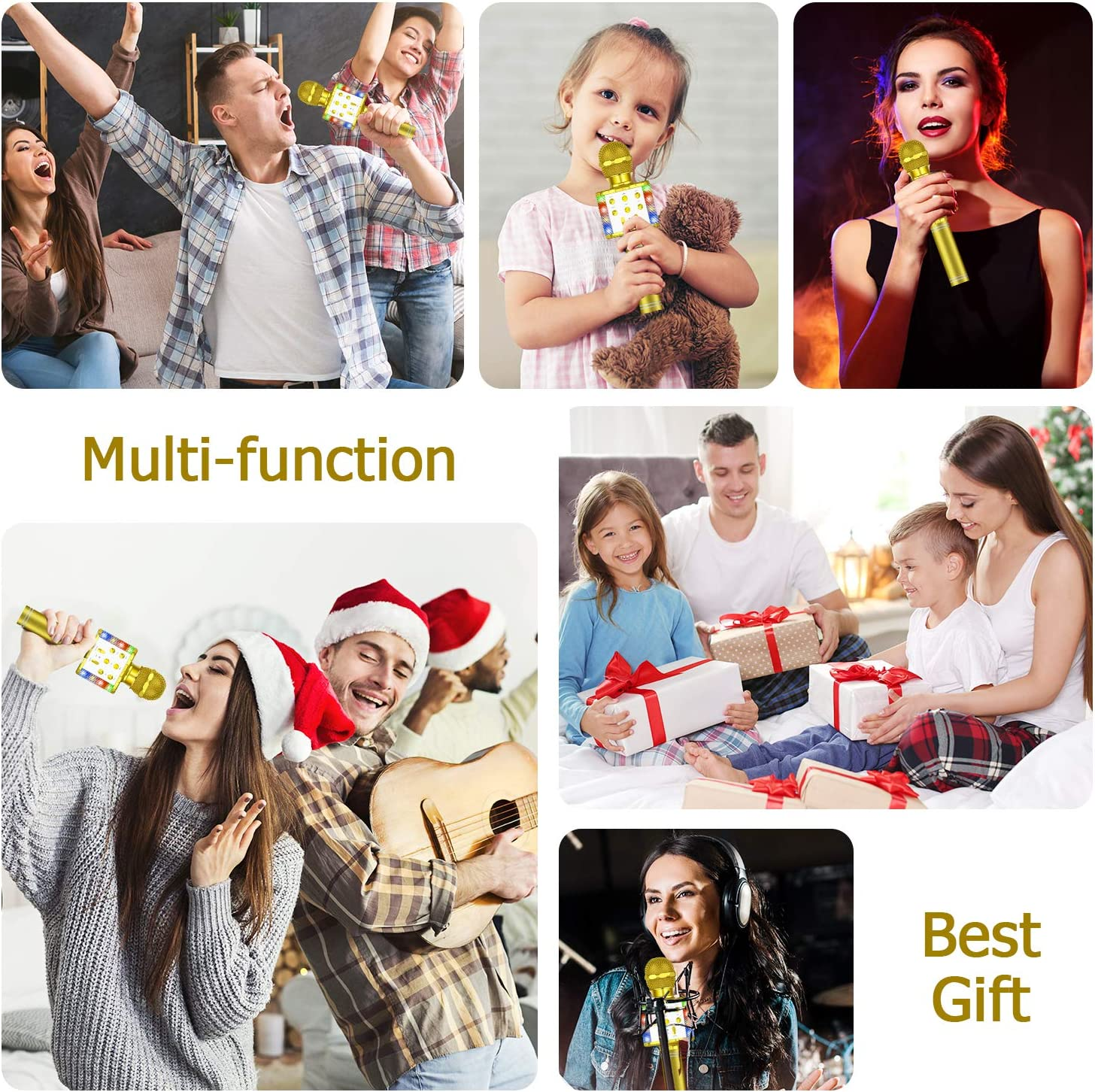 Compatible with Android /& iOS//PC Wireless Bluetooth Karaoke Microphone Rose Gold Tesoky 4 in 1 Magic Sound Portable Handheld Home Party KTV Player Karaoke Machine for Kids Adults with LED Lights